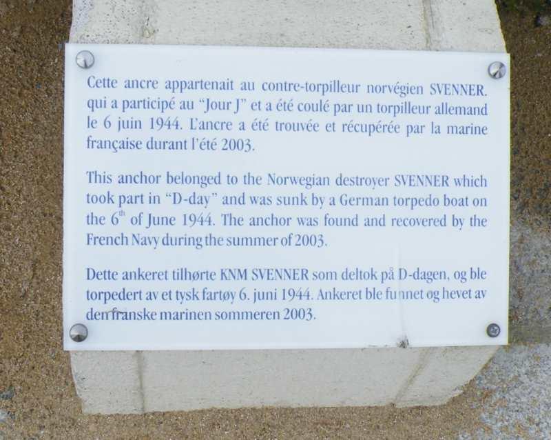 Ancre du contre-torpilleur Norvegien Svenner